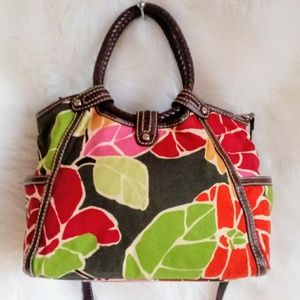 ♦Fossil Floral Brown Leather Crossbody Bag EUC